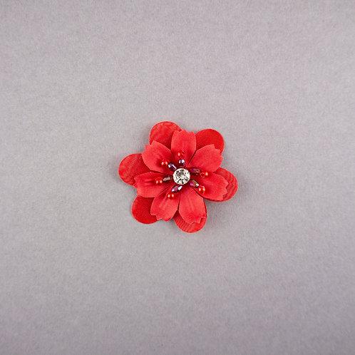 Bestickte Blüte mit Strass & Perlen zum Aufnähen, rot