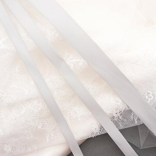 Satinband matt glänzend in 13/16/25 mm Breite, Farbe Hell-Grau