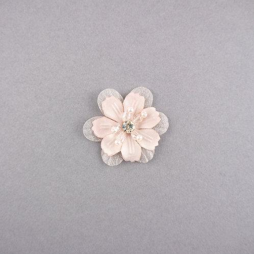 Bestickte Blüte mit Strass & Perlen zum Aufnähen, rosa