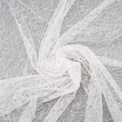 Tüll-Spitze mit Pailletten Nr. 2, Farbton Ivory