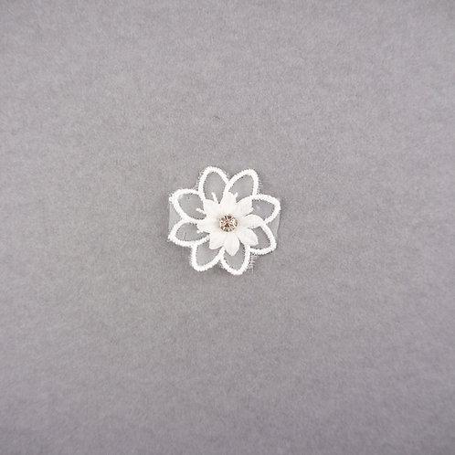 Kleine Blüte aus Organza mit Strass, zweilagig