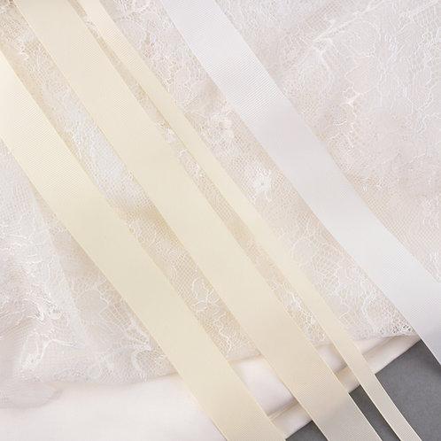 Ripsband in 9/25 mm Breite, Farbe verschiedene Ivory-Töne