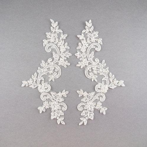 Spitzen-Elemente Paar, länglich, in Farbe Ivory klassisch