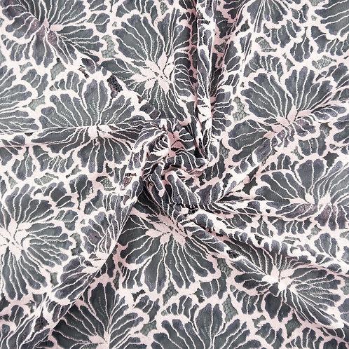 Spitze soft mit bogigem Abschluss, Farbe Grau-Rosa
