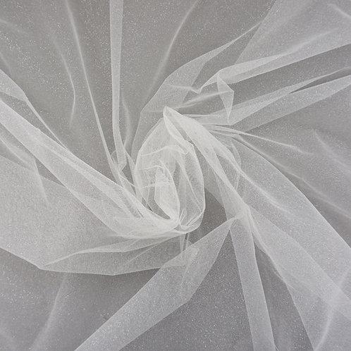 Feiner Glitzer-Tüll, beflockt, Farbe Ivory-Silber
