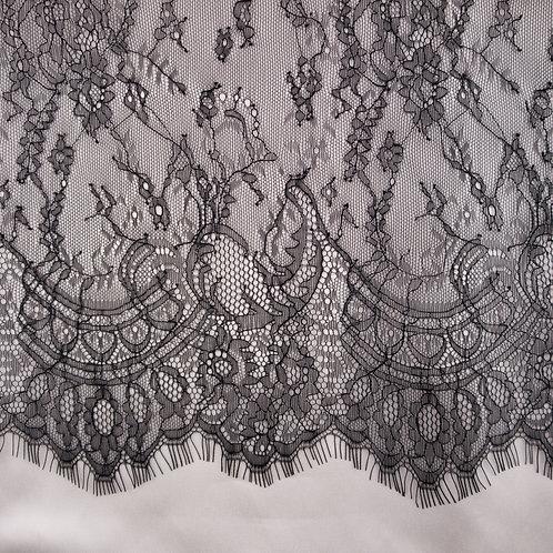Chantilly-Spitze mit Bogenkante, Farbe Schwarz