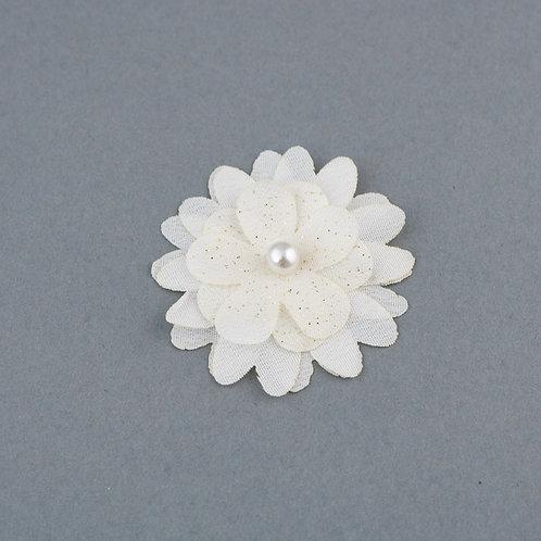 Blüte aus Taft und Glitzertüll mit Perle