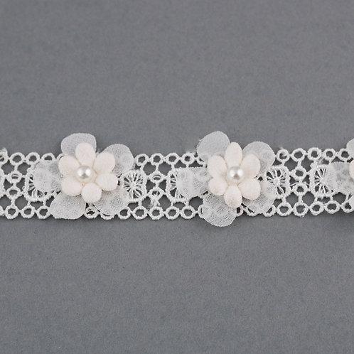 Blütenband aus Spitze und Blumen in ivory mit Perle