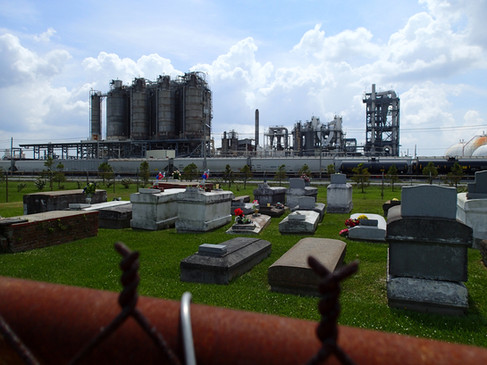 Reveille Town Cemetery, in Plaquemine, Louisiana directly next to a massive chemical plant owned by Westlake.