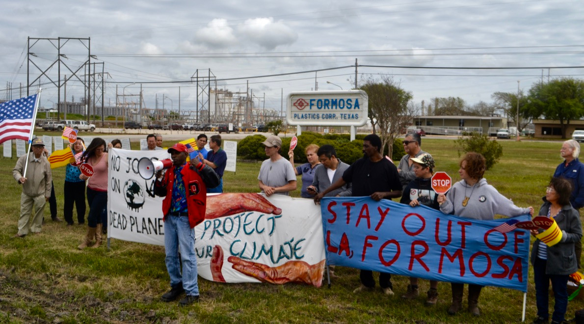 Protest at the site of Formosa's petrochemical facility in Point Comfort, Texas.