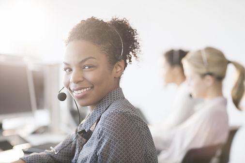 customer service woman answering phone