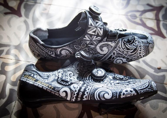 George Bennetts custom designed cycling shoes.