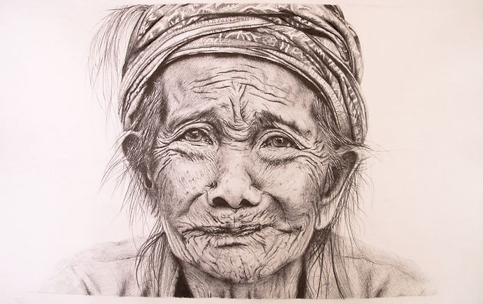 A pencil drawing of a portrai taken by Apel Photography in Nusa Penida. The Art of Old Faces.