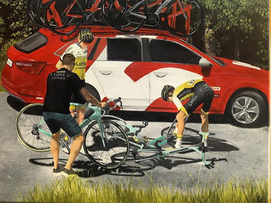 Acrylic on canvas. A commissioned piece for a client of a stage in Tour de France