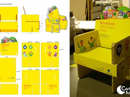 Fauteuil en carton personalisé démontable - La Fabrique Aviva