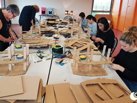 Initiation à la Fabrication de meuble en carton par Carton Lune à Paris/Val d'Europe