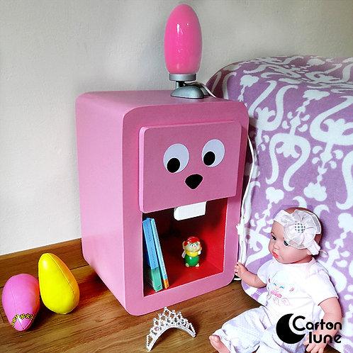 """Table de nuit enfant """"Grrr"""" - lapin rose"""