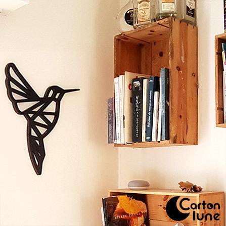 Colibri origami déco murale noire