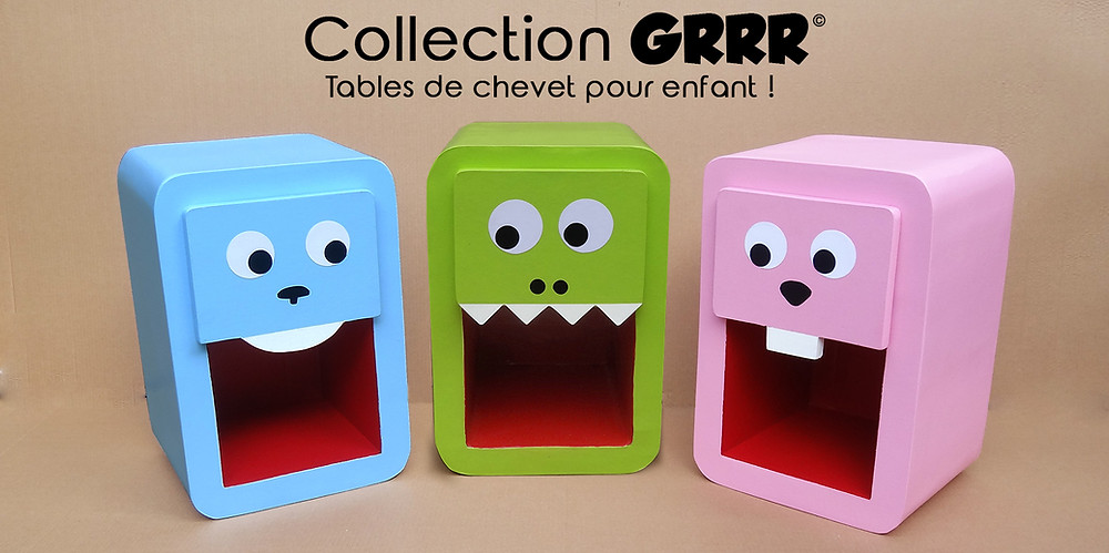 Creation Carton Lune - Table de chevet crocodile - lapin