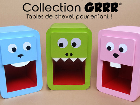 "Collection ""Grrr"" - table de chevet pour chambre d'enfant."