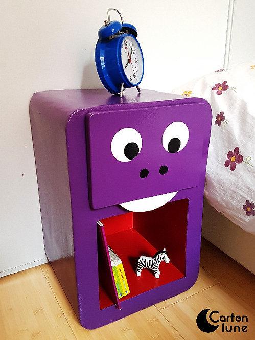 """Table de nuit enfant """"Grrr"""" - dino violet"""