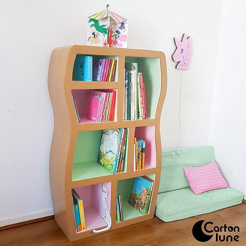 Bibliothèque enfant rose et vert