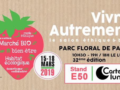 Carton Lune expose au salon éthique et bio, Vivre Autrement , au Parc Floral de Paris du 15 au 18 ma