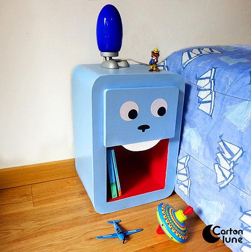 """Table de nuit enfant """"Grrr"""" - lapin bleu"""