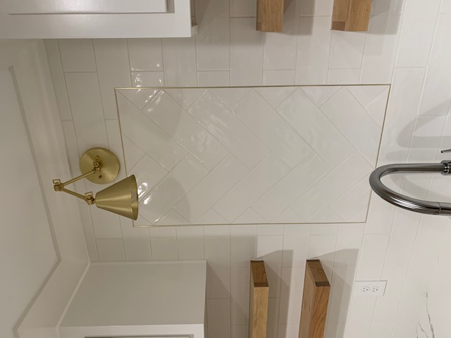 Inlaid Unlacquered Brass Tile Accent