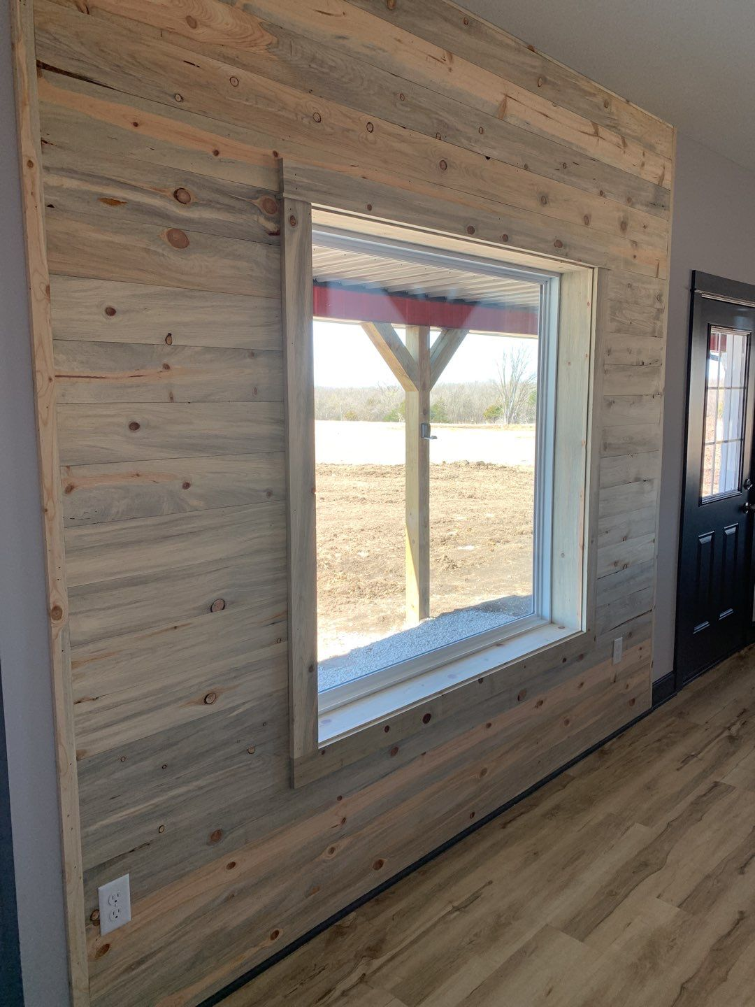 Picture Window with Beetle Kill Pine Paneling
