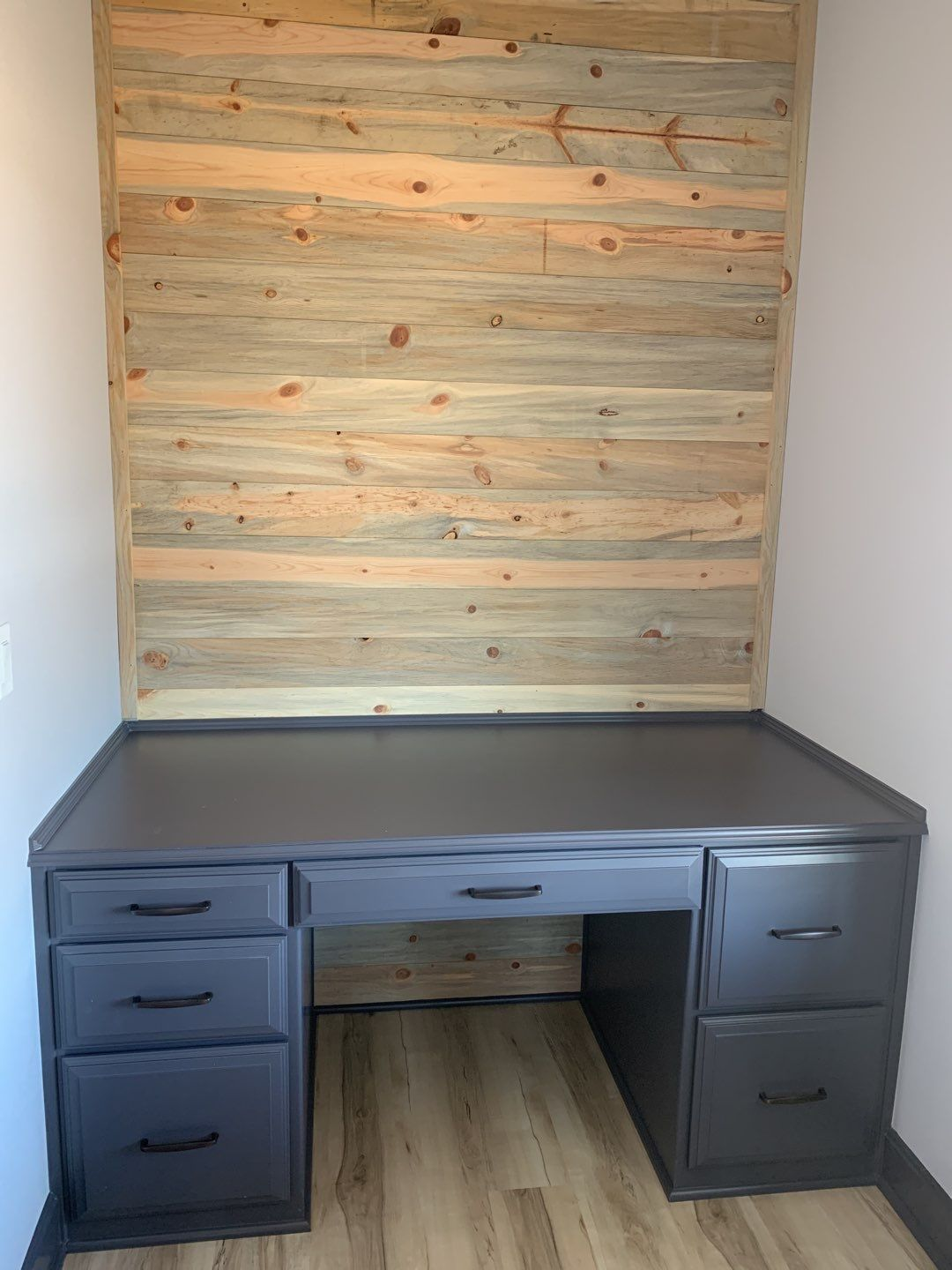 Custom Desk with Beetle Kill Pine Accent Wall