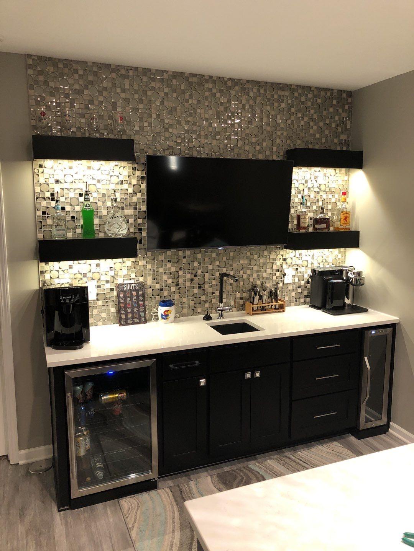 Backsplash, Countertops, and Floating Shelves