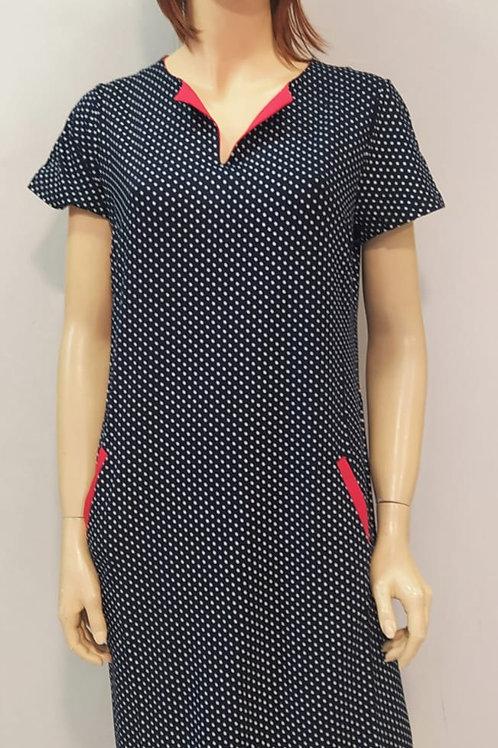שמלה צנועה V קטן מלפנים דגם 63077