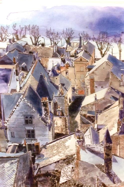 冬の北欧 青が基調 美しい風景画