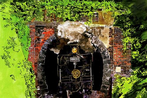 トンネルを抜けるSL人吉号