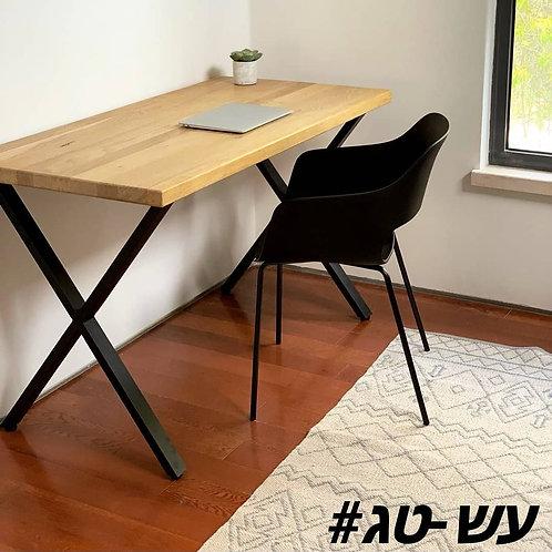 שולחן תלמיד עץ אלון מלא רגלי איקס