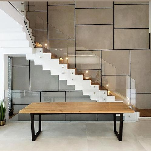 שולחן רגלי טרפז עץ אלון מלא מידות לבחירה