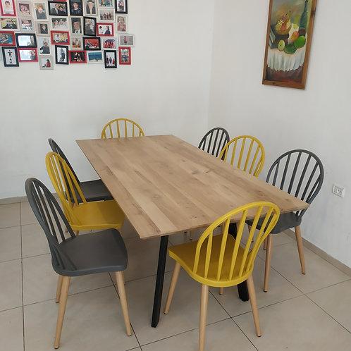 שולחן רגלי זווית עץ אלון מלא מידה לבחירה