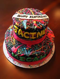 80s color splash cake