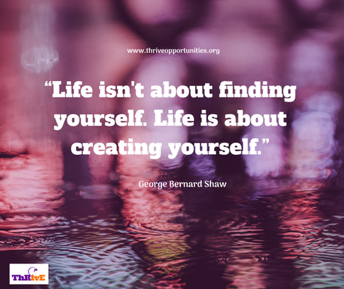 """""""Life isn't about finding yourself. Life is about creating yourself."""""""