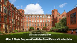Allan and Nesta Ferguson Charitable Trust Masters Scholarships in University of Sheffield, UK (Fully