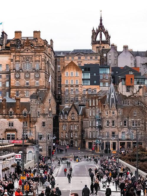 Edinburgh's Historic Old Town looking across Waverley Bridge