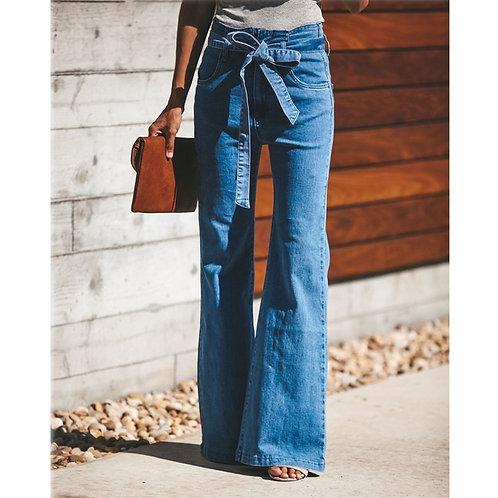 Blue Tie Waist Flare Jeans Women Slim Denim Trousers Vintage Clothes 2019