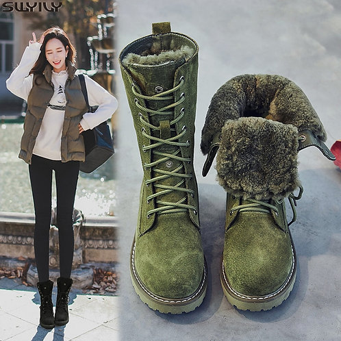 SWYIVY Wedge Shoes Genuine Leather Snow Boots Woman Winter Boots 2019