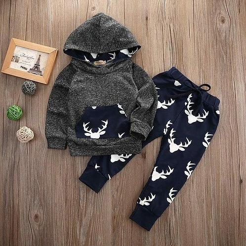 Deer hoodie coat pants kids 2pcs suit