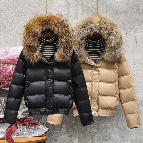 Real Fur Collar Down Coat Female Jacket 2020 Fashion White Duck Down  Jacket