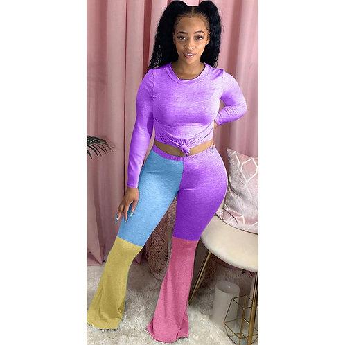 Casual Sportsuit Color Patchwork Pants Set Long Sleeve Shirt