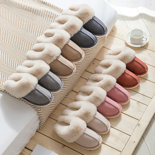 Slippers Warm Plush Home Slipper Anti Slip  Soft Slient Slides