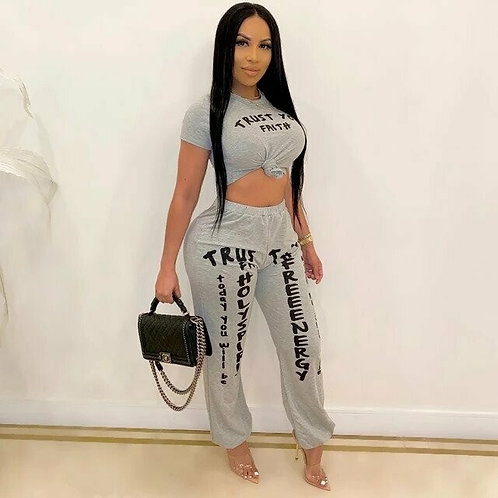 2020 Two Piece Set Women Clothing Sets Summer Tracksuit Letters Print Crop Top T