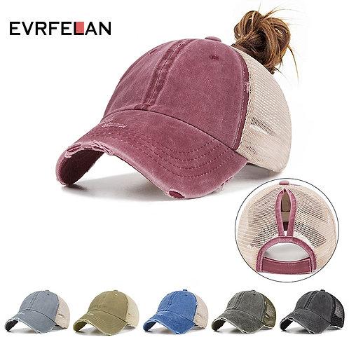 Evrfelan New Ponytail Baseball Cap Women Mesh Baseball Hats Summer  Snapback